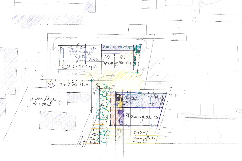 Skizze zum Wettbewerb Neubau eines Feuerwehrhauses und Bauhofes in Umkirch