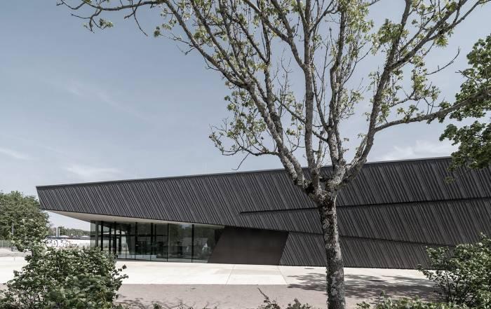 Neubau Veranstaltungshalle Kuppenheim ausgezeichnet für beispielhaftes Bauen 2021, Außenansicht