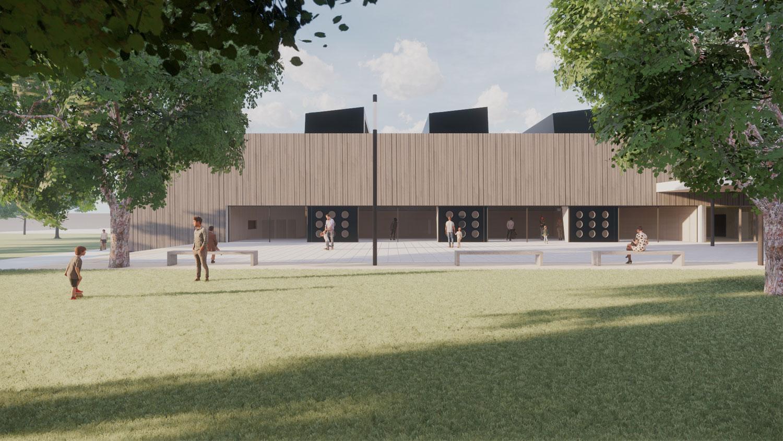 Ersatzneubau Sporthalle Fasanenhofschule Stuttgart, Ansicht Pausenhof
