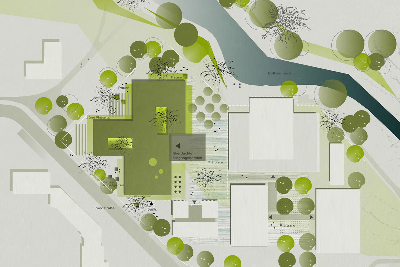 Erweiterung Erich-Kästner-Schule Darmstadt-Kranichstein, Lageplan detailliert