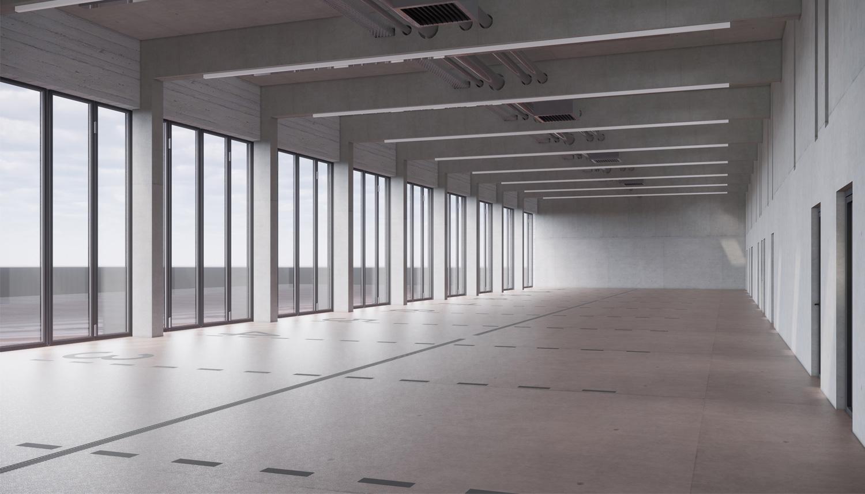 Neubau Feuerwehr und Bauhof Metzingen, Fahrzeughalle