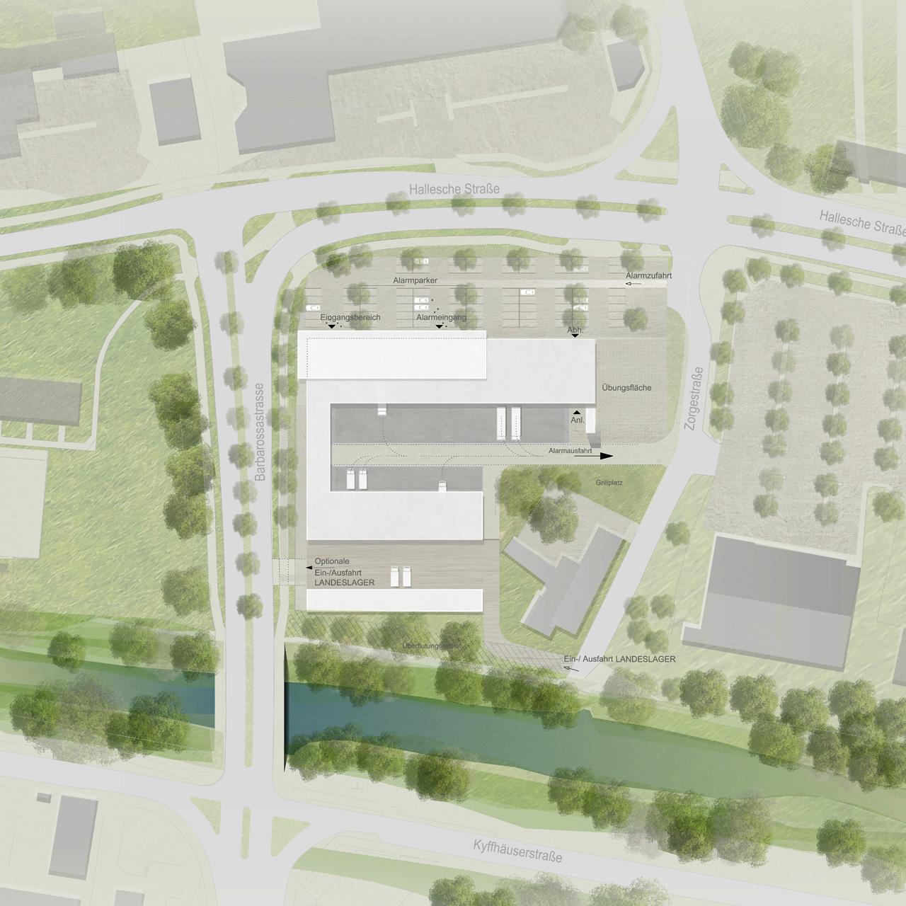 Neubau Feuerwehrtechnisches Zentrum Nordhausen, Lageplan detailliert