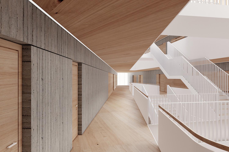 Neubau Grundschule mit Kindertageseinrichtung und Sporthalle Frankfurt/Main, Treppenhalle