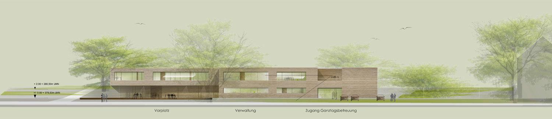 Neubau Grundschule mit Turnhalle Ammerbuch-Altingen, Ansicht Eingang