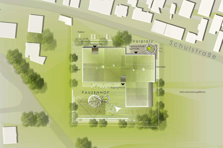 Neubau Grundschule mit Turnhalle Ammerbuch-Altingen, Lageplan detailliert