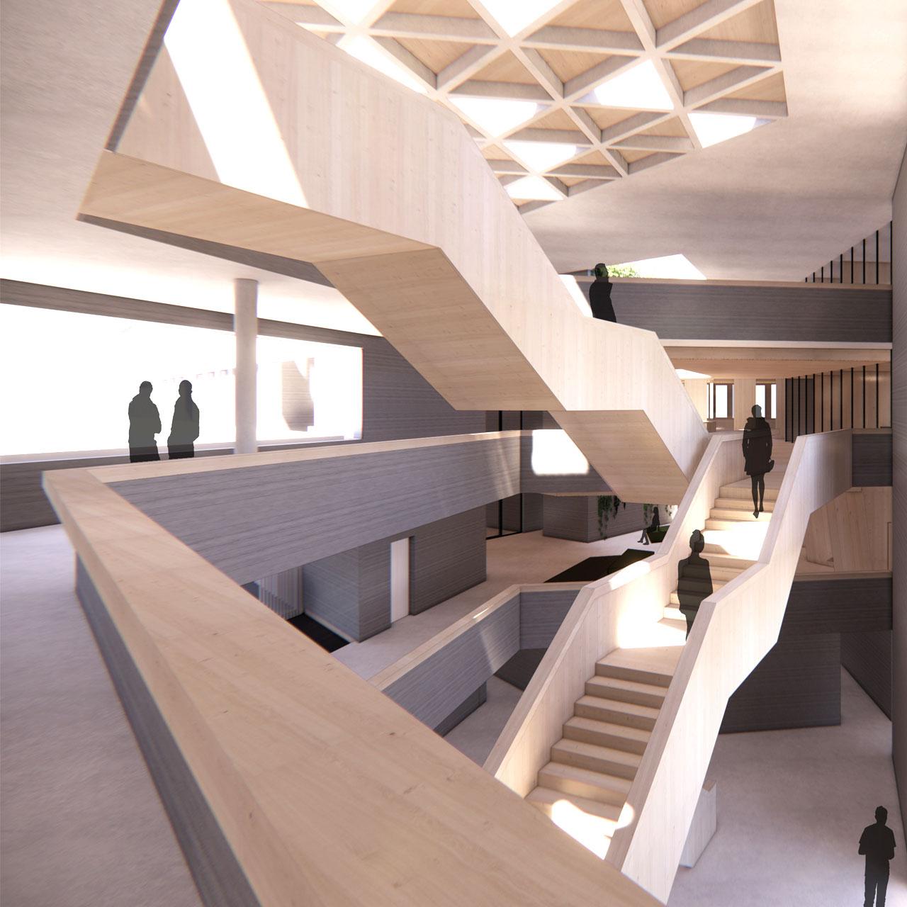 Neubau Landratsamt Landshut, Treppenhalle
