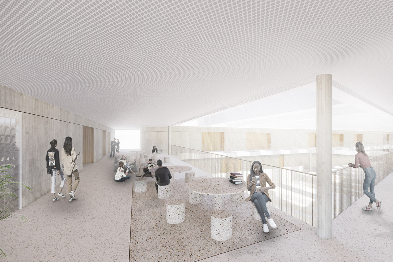 Neubau Staatliche Realschule mit Dreifeldsporthalle Landshut, Aula