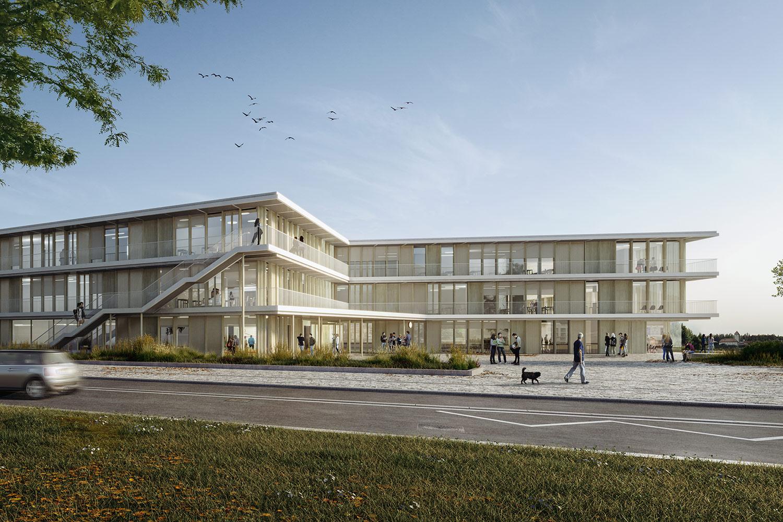 Neubau Staatliche Realschule Dreifeldsporthalle Landshut, Außenperspektive