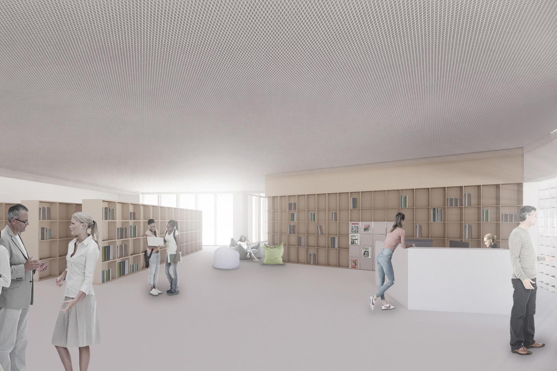 Neubau Staatliche Realschule mit Dreifeldsporthalle Landshut, Bibliothek