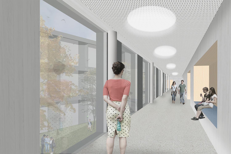 Neubau Staatliche Realschule mit Dreifeldsporthalle Landshut, Flur