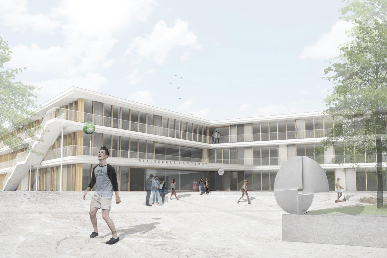 Neubau Staatliche Realschule mit Dreifeldsporthalle Landshut, Pausenhof