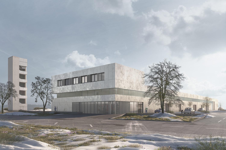 Neubau Zentrales Feuerwehrgeraetehaus Rheinfelden, Außenperspektive, Tagesbild