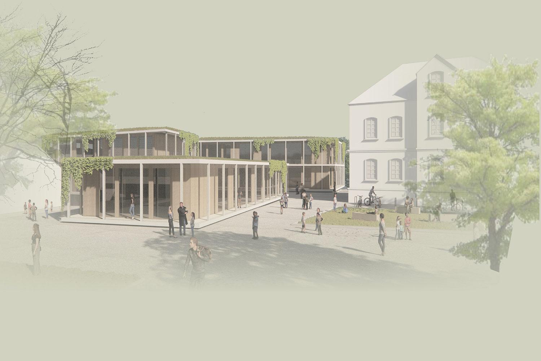 Anerkennung für den Neubau der Präsident-Mohr-Schule in Ingelheim am Rhein, Perspektive Pausenhof