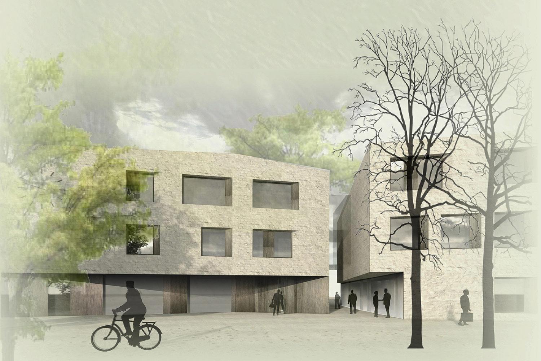 3. Preis für den Neubau des Rathauses der Gemeinde Altenberge, Außenraumperspektive