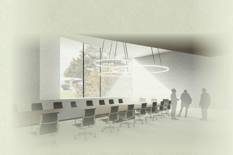 3. Preis für den Neubau des Rathauses in Altenberge, Innenraumperspektive
