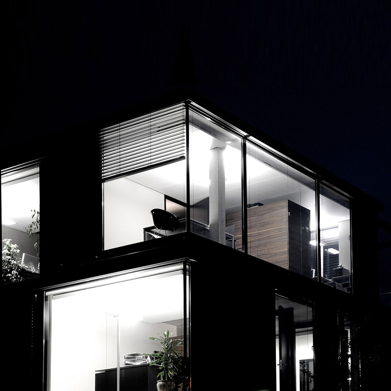 Neubau Bürogebäude Leinfelden-Echterdingen, Aussen Nachtaufnahme