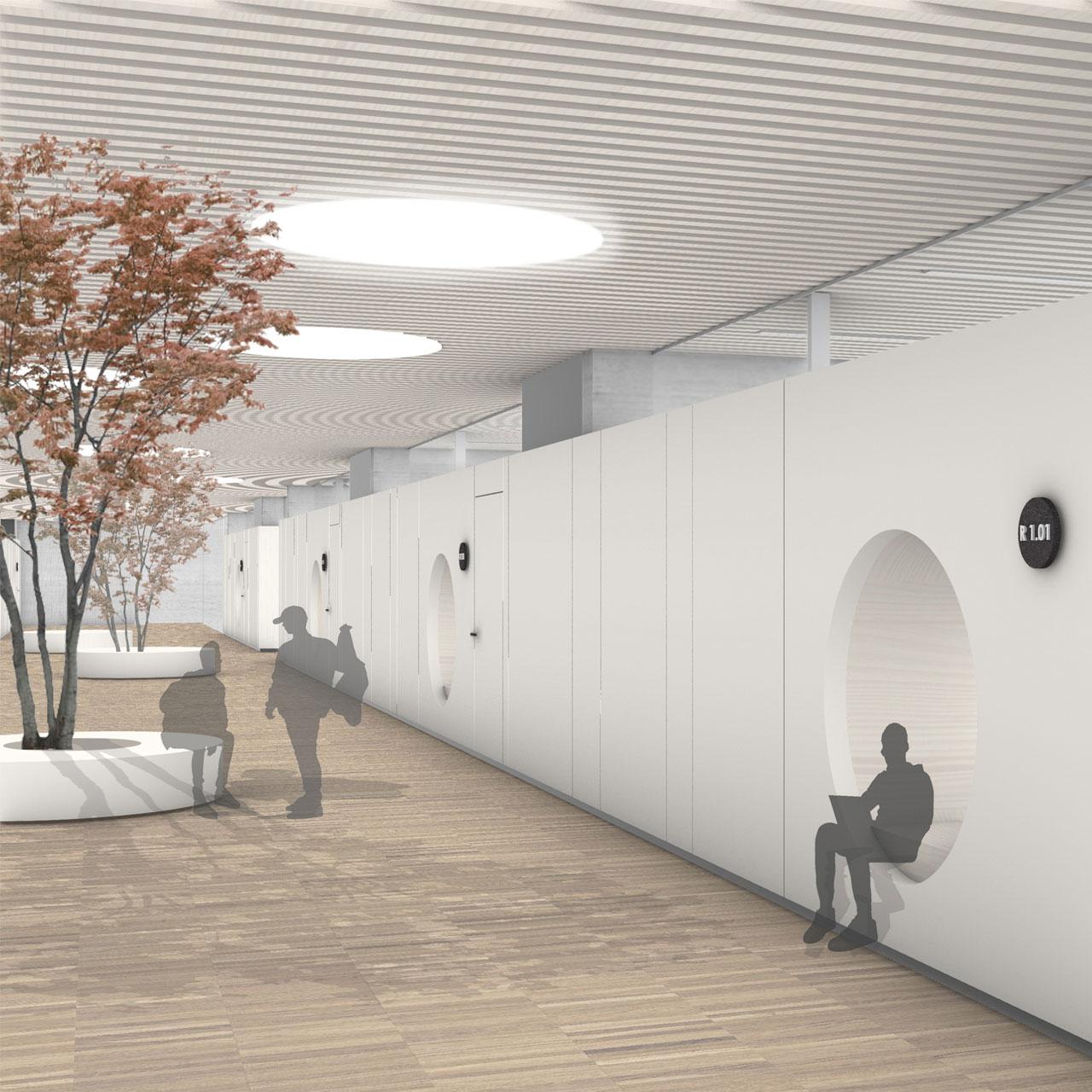 Erweiterung des Faust Gymnasiums in Staufen, Flur