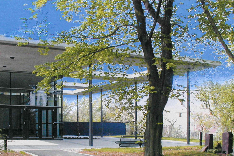 Neubau Aussegnungshalle Stuttgart-Gaisburg, Eingang