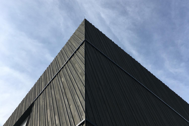 Neubau Veranstaltungshalle Kuppenheim, Fassadendetail vorvergraute Holzfassade