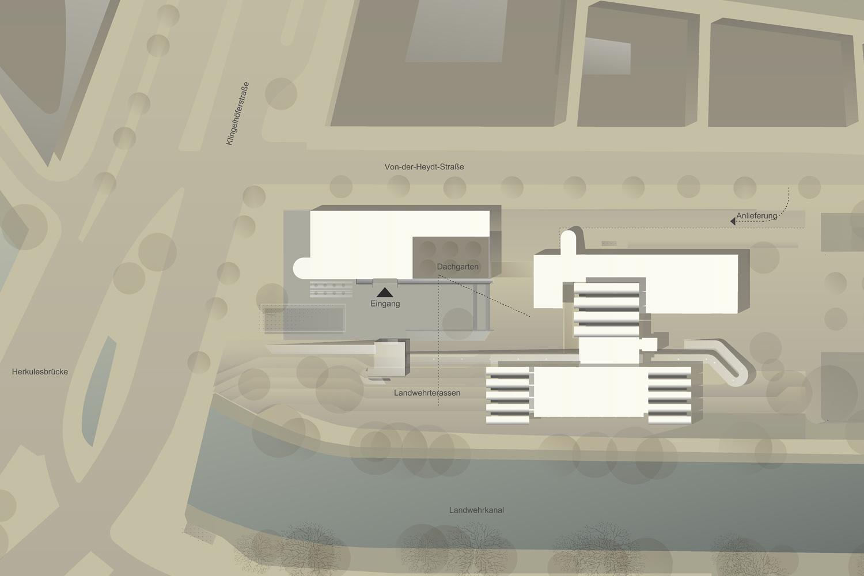 Wettbewerb Bauhaus-Archiv Museum für Gestaltung Berlin, Lageplan detailliert
