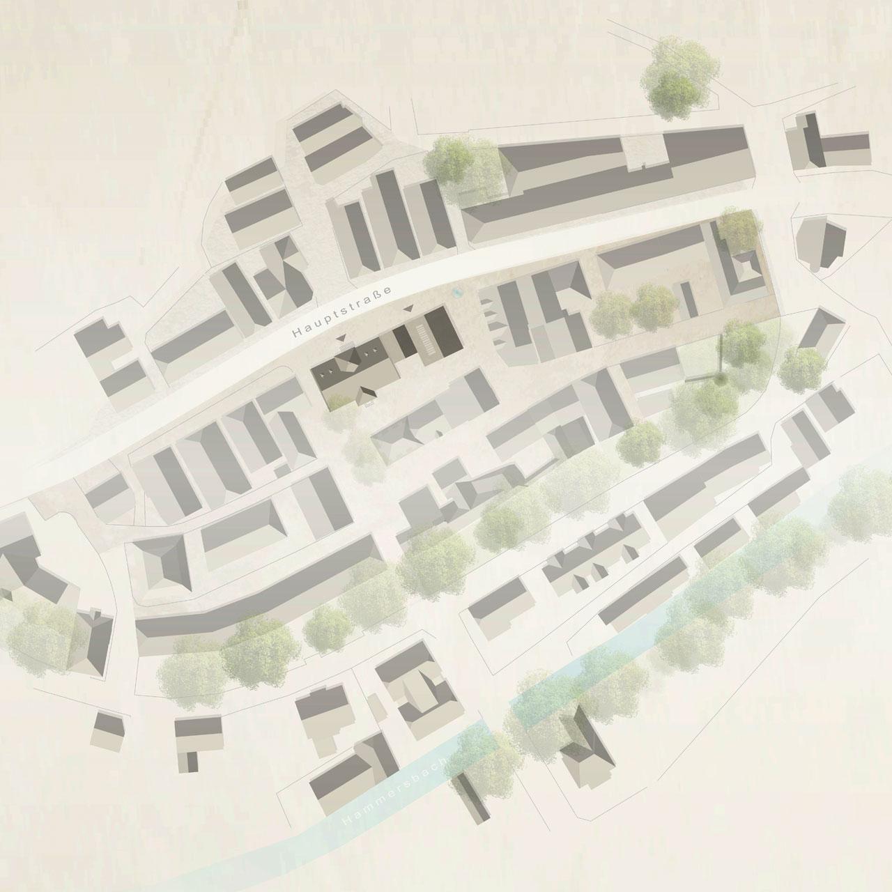 Wettbewerb Erweiterung Rathaus Zell am Hammersbach, Lageplan