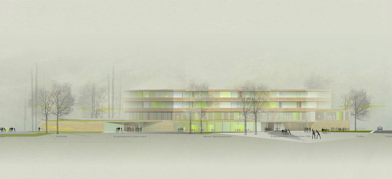 Wettbewerb Grundschule Europaviertel mit Kindertagesstätte und Sporthalle Frankfurt am Main, Ansicht West