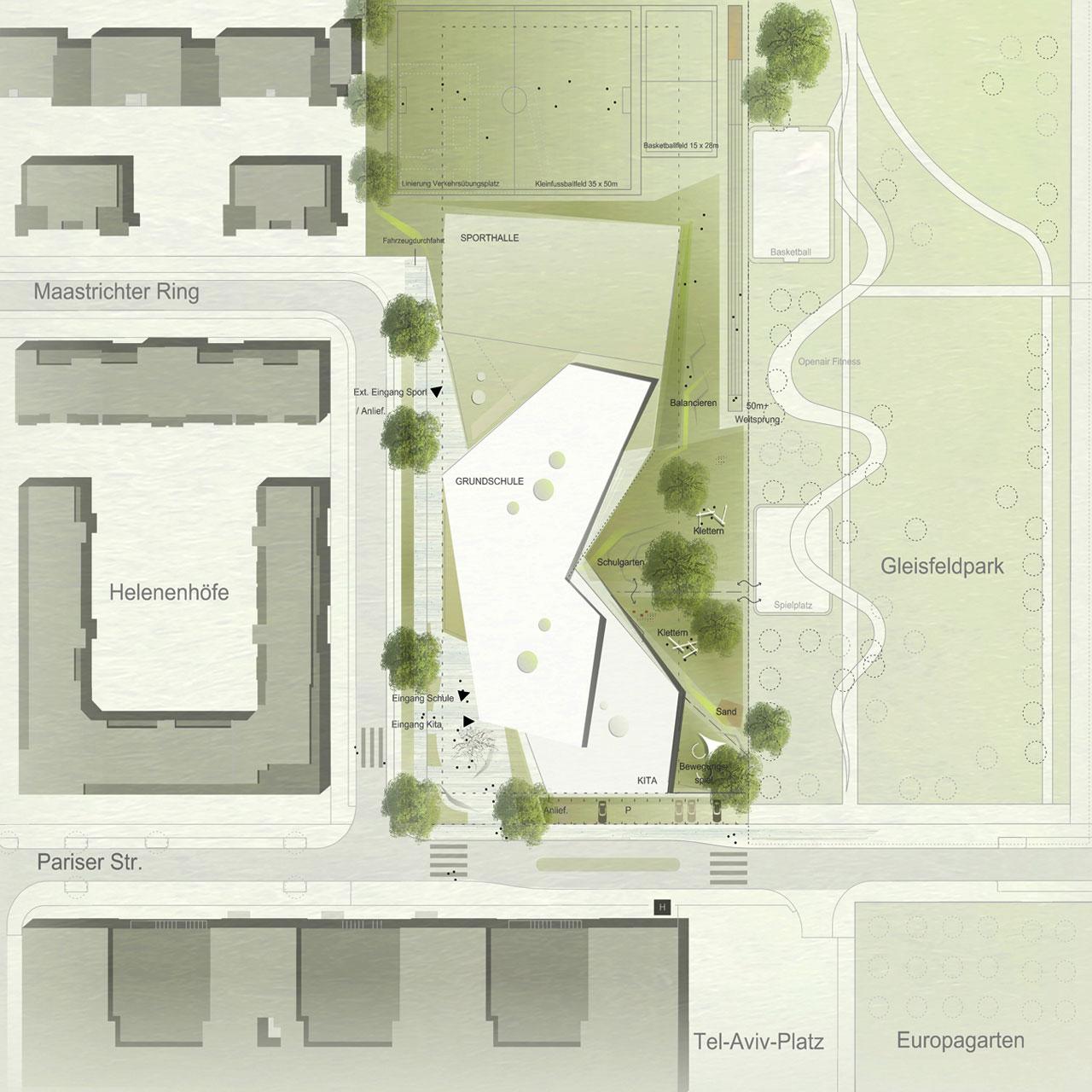Wettbewerb Grundschule Europaviertel mit Kindertagesstätte und Sporthalle Frankfurt am Main, Lageplan