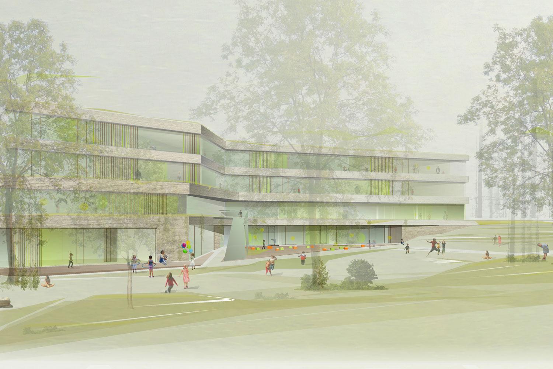 Wettbewerb Grundschule Europaviertel mit Kindertagesstätte und Sporthalle Frankfurt am Main, Perspektive