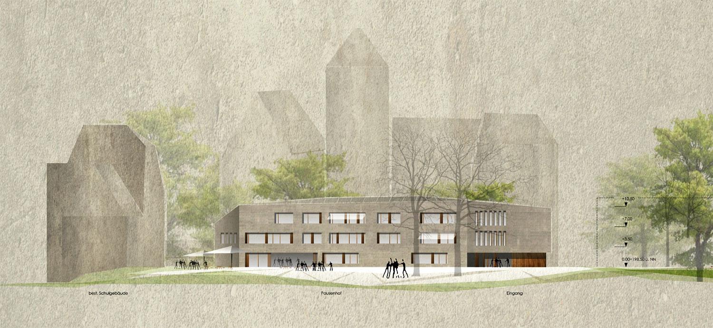 Wettbewerb Neubau Friedrich-Schelling-Schule Bietigheim-Bissingen, Ansicht Süd