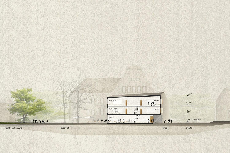 Wettbewerb Neubau Friedrich-Schelling-Schule Bietigheim-Bissingen, Schnitt