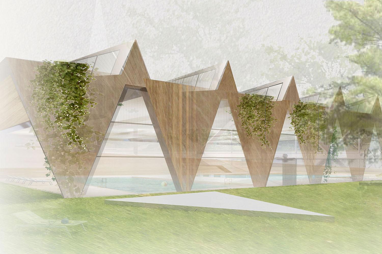 Wettbewerb Neubau des Hallenbades in Stuttgart-Zuffenhausen, Perspektive Außen