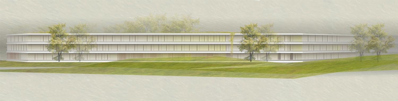 Wettbewerb Neubau Landratsamt Landshut, Ansicht Süd