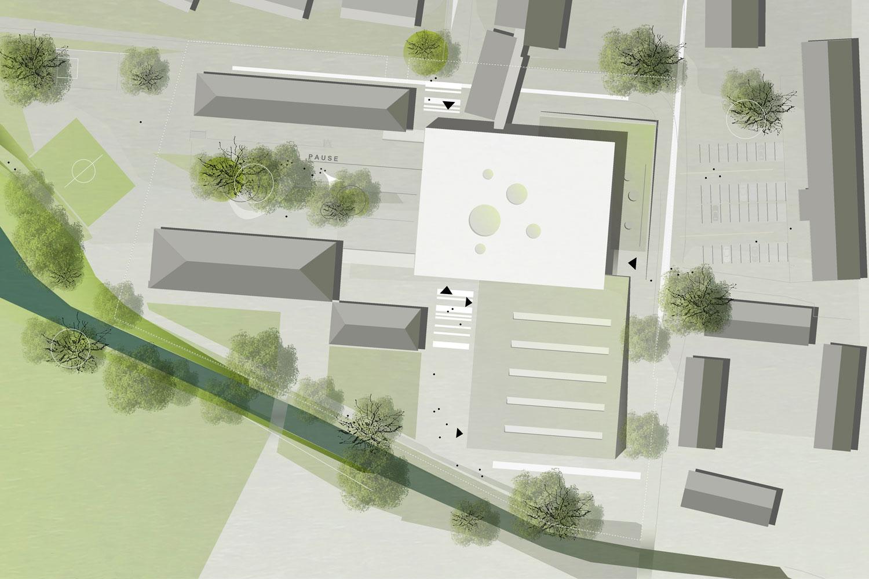 Wettbewerb Neubau Mittelschule mit Sporthalle und Lehrschwimmbad, Lageplan