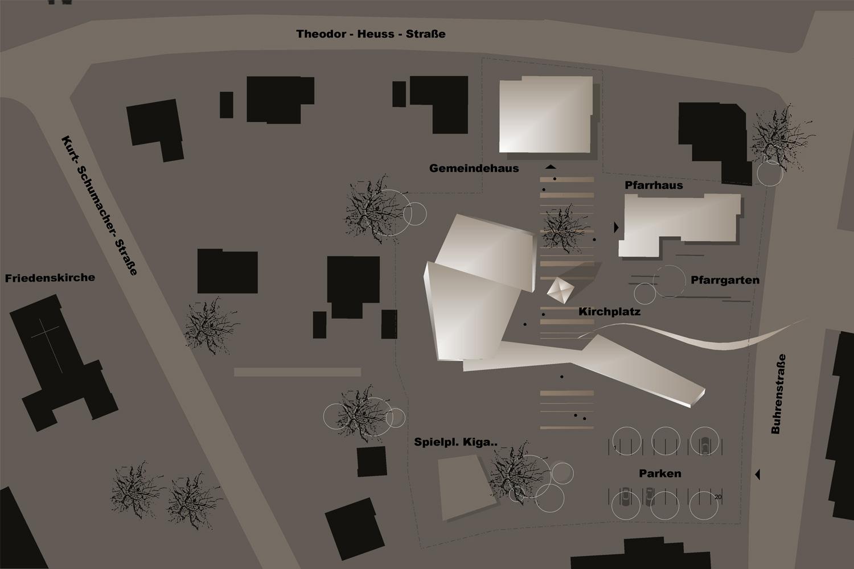 Wettbewerb Neubau Pfarrkirche St. Paulus Balingen, Lageplan detailliert