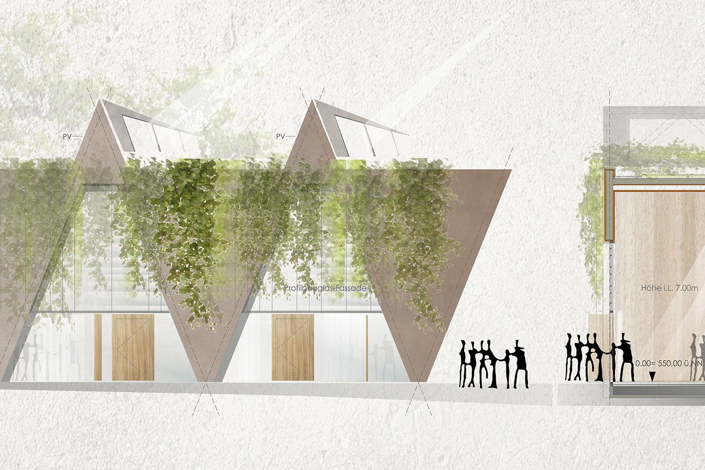 Wettbewerb Neubau Sporthalle Wangen im Allgäu, Fassadenschnitt