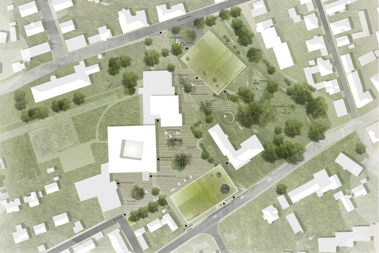 Wettbewerb Neubau Sporthalle mit Parkhaus Kempten, Lageplan detailliert