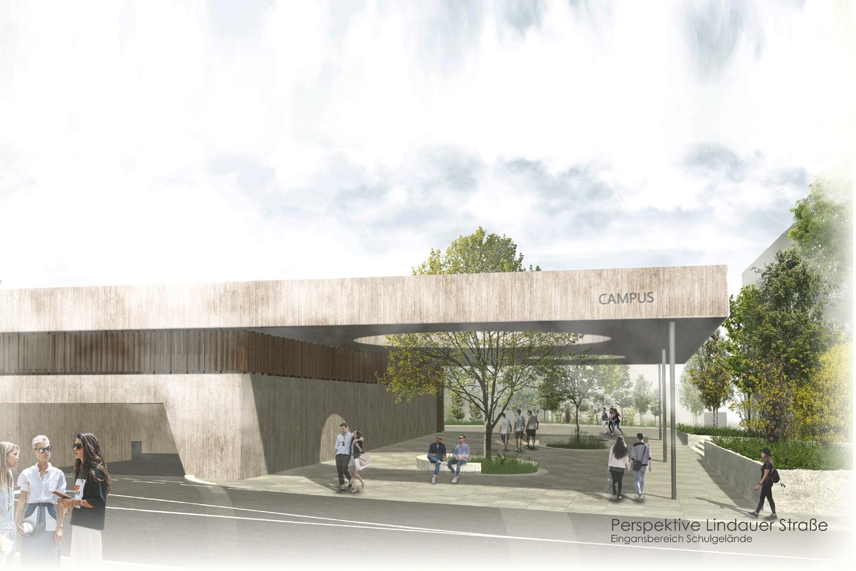 Wettbewerb Neubau Sporthalle mit Parkhaus Kempten, Perspektive