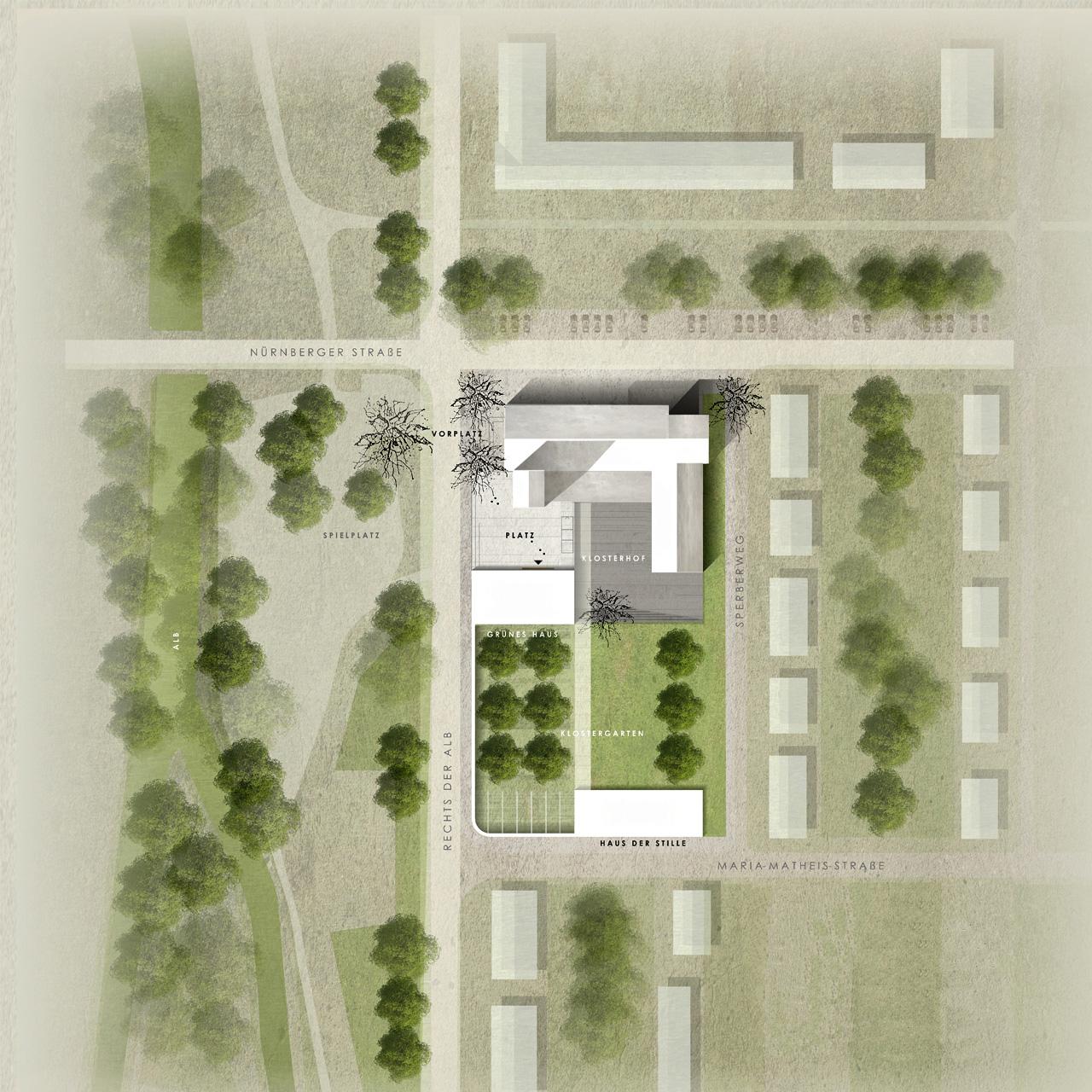 Wettbewerb Stadtkloster St. Franziskus Dammerstock Karlsruhe, Lageplan detailliert