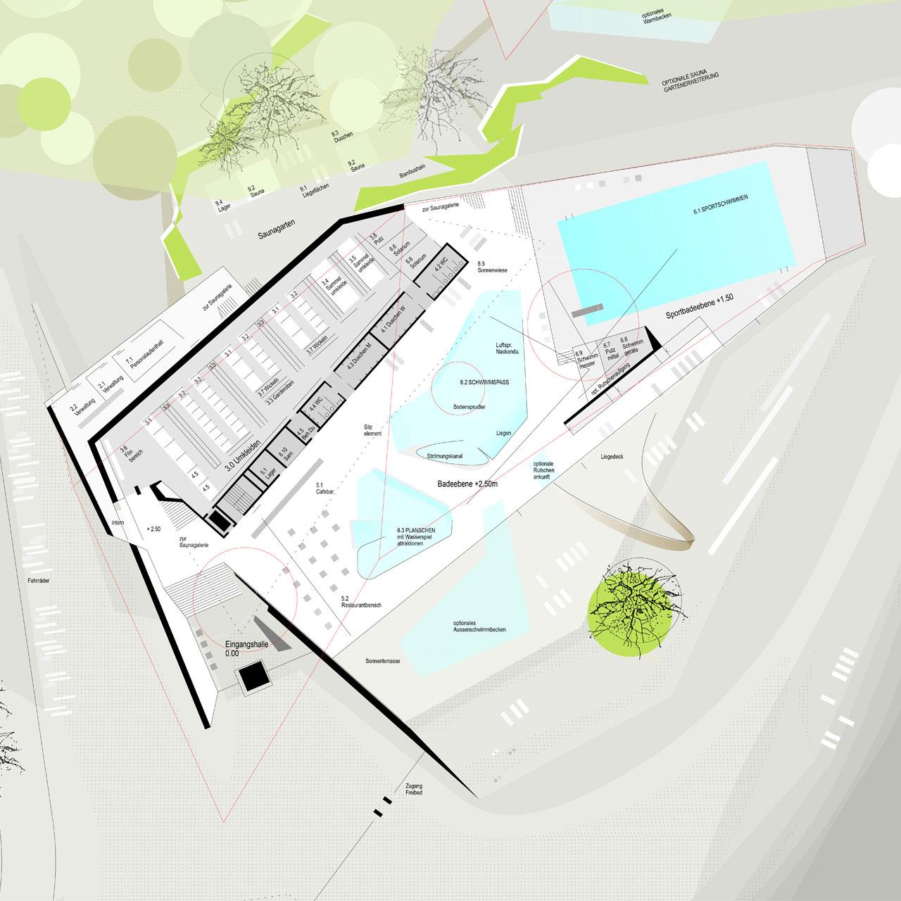 Wettbewerb Umbau und Neubau Hallenbad Walldorf, Grundriss