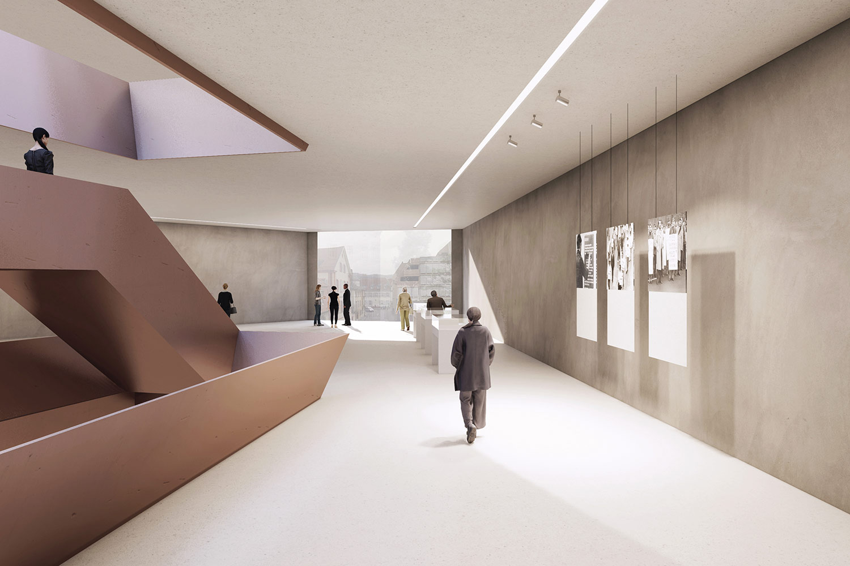 Wettbewerb Neubau unds Sanierung Dokumentations- und Kulturzentrum Heidelberg, Innenraumperspektive