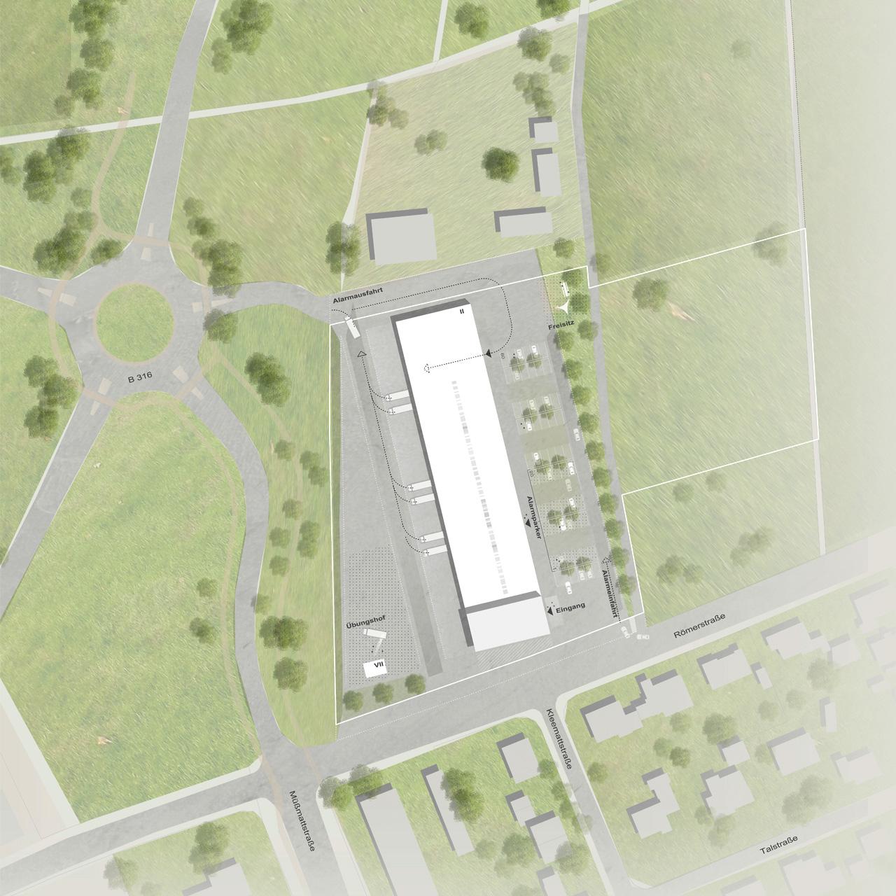 Wettbewerb Zentrales Feuerwehrgerätehaus Rheinfelden, Lageplan detailliert